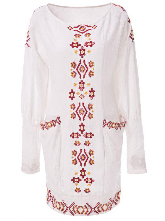 latest Ethnic Embroidery Scoop Neck Long Sleeve Dress - OFF-WHITE S