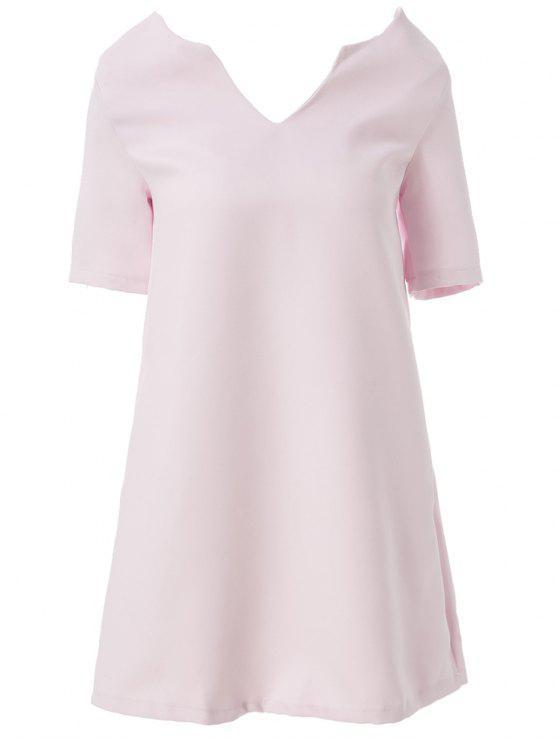 Robe couleur unie Lace Up V-cou manches mi-longues - Rose Clair M