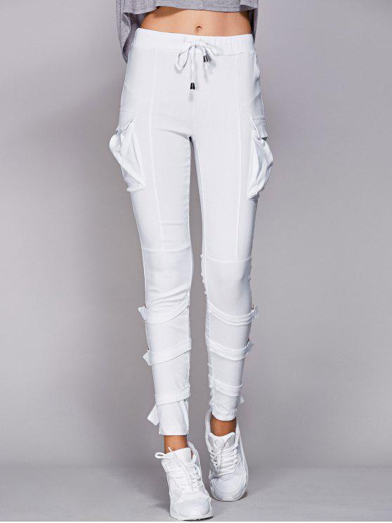 الرباط جيوب بيضاء السراويل - أبيض 2XL