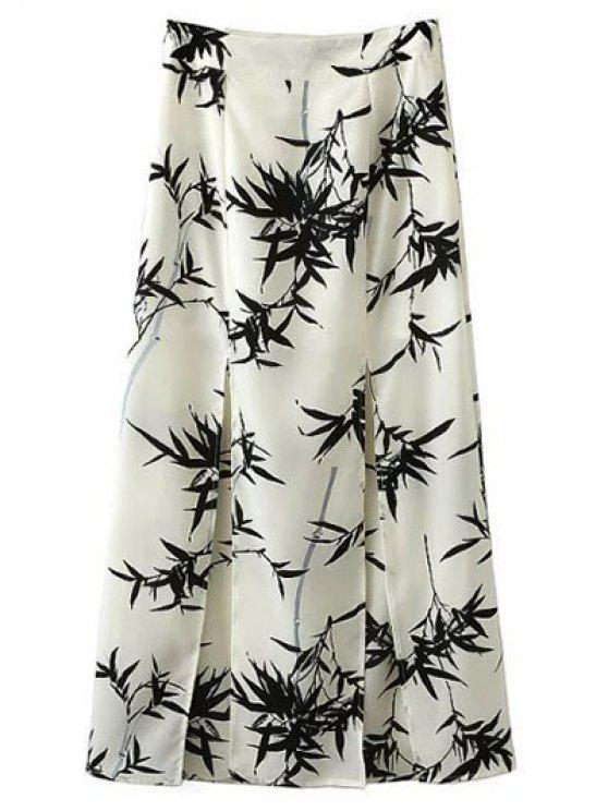 fashion Front Slit Bamboo Print Skirt - WHITE M