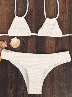 Solide Couleur Halter Neck Bikini - Blanc Cassé S