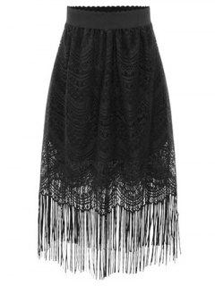 Black Fringe High Waist A-Line Lace Skirt - Black 2xl