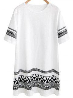 Robe Ample Imprimée Géométrique à Col Rond Manche Court - Blanc 2xl