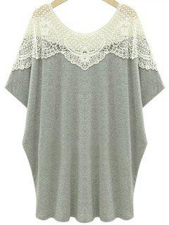 T-shirt Découpé Embelli Patchwork De Dentelle à Col Rond à Manches Courtes - Gris Clair 4xl