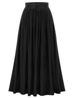 Pure Color High Waist Pleated Skirt - Black