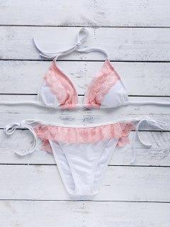 Rosa Cami Bikini Set Mit Spitze Spleiß - S