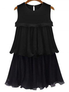 Black Flounce Ruffles Round Neck Sleeveless Dress - Black Xl