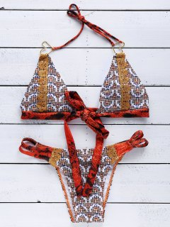 Print Halter Wrap Bikini Set - Dark Red Xl