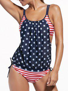 Union Flag Patriotic Swimwear Tankini With Padded Bra - Blue And Red L