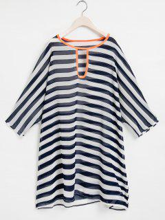 Striped Keyhole Neckline 3/4 Sleeve Cover-Up - Purplish Blue