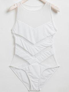 Voile Spliced ​​Cou Jewel One-Piece Maillots De Bain - Blanc M