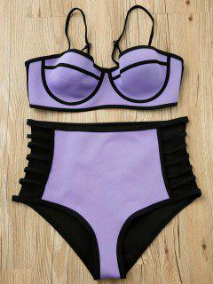 Purple Cami High Waisted Bikini Set - Purple Xl