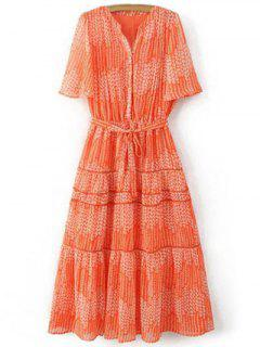Print V Neck Short Sleeve Maxi Dress - Orangepink S