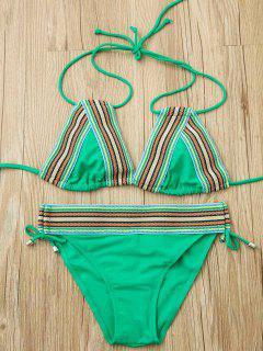 Striped Splice Halter Bikini Set - Apple Green S