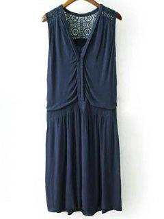 Lace Splice Plunging Neck Sleeveless Dress - Cadetblue S