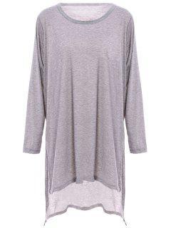 Solide Couleur Side Slit Ample T-shirt - Gris Xl