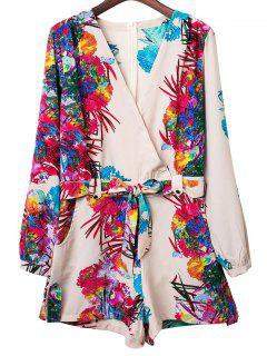 Colored Print V Neck Long Sleeve Romper - Xl
