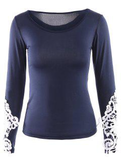 Lace Trim Long Sleeve Scoop Tee - Deep Blue L