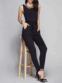 Black Sleeveless Cutout Jumpsuit - Black M