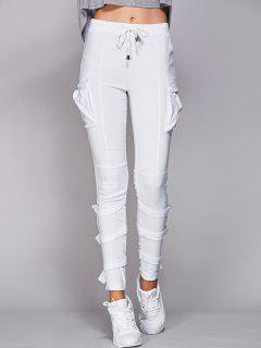 Pantalones De Los Bolsillos Con Cordón Blanco - Blanco S