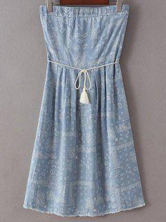 Dril De Algodón Vestido Estampado Sin Tirantes - Azul Claro Xs