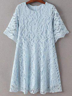 Solid Color Round Neck Half Sleeve Lace Dress - Light Blue Xs