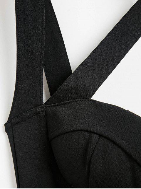 Bodycon Kleid mit Halsband und Verband - Schwarz M Mobile