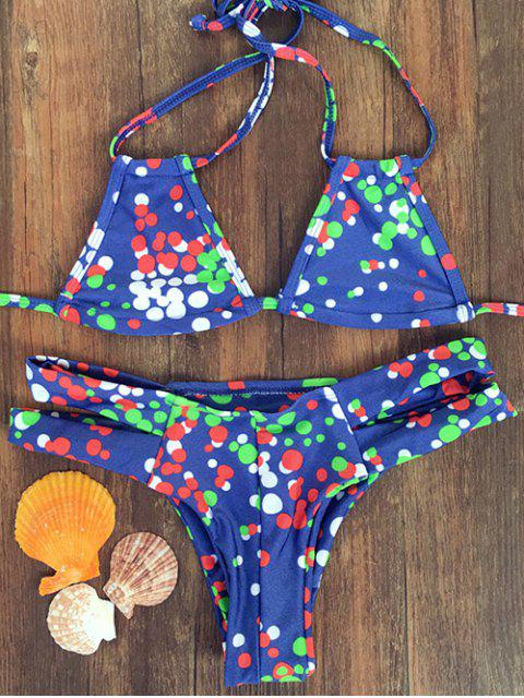 outfit Colorful Polka Dot Halter Bikini Set - BLUE L Mobile