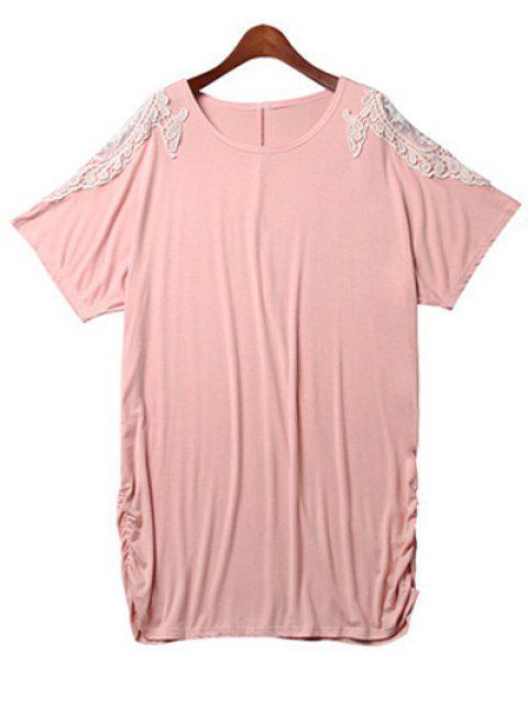 Vestido de encaje flojo empalmado de cuello redondo de ala de murciélago de la manga - Rosa 2XL Mobile