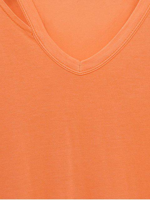 trendy Loose Side Slit V Neck Short Sleeve T-Shirt - GRAY 3XL Mobile