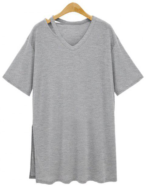 Side lâche Slit V Neck T-shirt à manches courtes - Gris 3XL Mobile