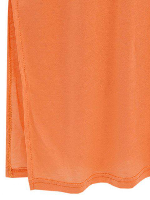 Side lâche Slit V Neck T-shirt à manches courtes - Bleu Foncé M Mobile