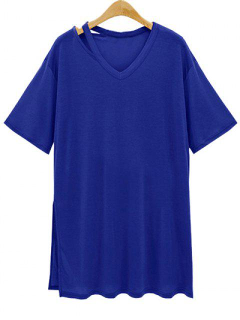 Lado flojo de hendidura cuello en V manga corta de la camiseta - Azul Profundo M Mobile