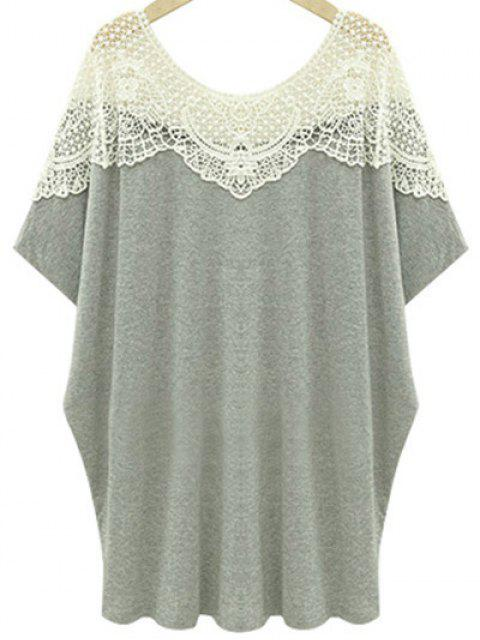women Cut Out Lace Spliced Round Neck Short Sleeve T-Shirt - LIGHT GRAY 4XL Mobile