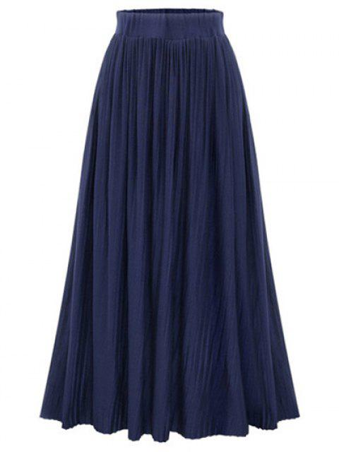 shops Pure Color High Waist Pleated Skirt - DEEP BLUE ONE SIZE(FIT SIZE XS TO M) Mobile
