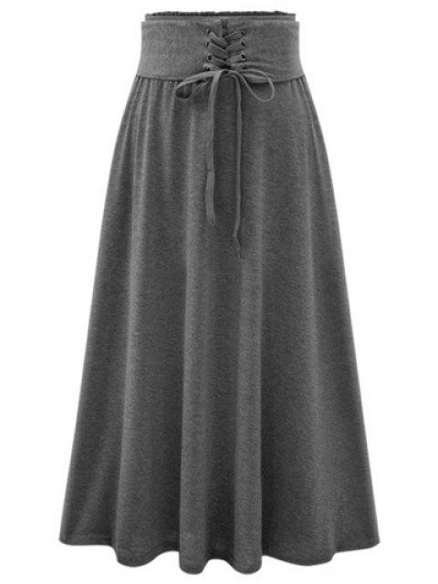 shops Solid Color Lace-Up High Waist A-Line Skirt - DEEP GRAY ONE SIZE(FIT SIZE XS TO M) Mobile