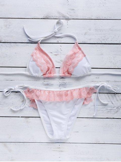 new Pink Lace Splice Cami Bikini Set - COLORMIX M Mobile