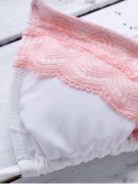 hot Pink Lace Splice Cami Bikini Set - COLORMIX S Mobile