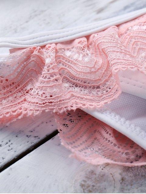 online Pink Lace Splice Cami Bikini Set - COLORMIX L Mobile
