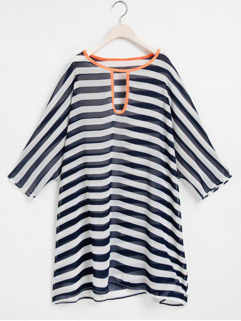 lady Striped Keyhole Neckline 3/4 Sleeve Cover-Up - PURPLISH BLUE ONE SIZE(FIT SIZE XS TO M) Mobile
