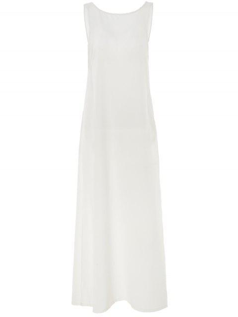 Cuello redondo blanco sin espalda encubrimiento - Blanco Un tamaño(Montar tam Mobile