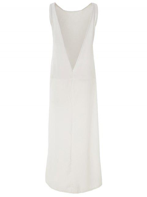 hot White Round Neck Backless Cover-Up - WHITE ONE SIZE(FIT SIZE XS TO M) Mobile