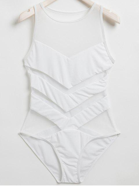Voile Spliced ​​Cou Jewel One-Piece Maillots de bain - Blanc M Mobile