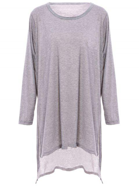 hot Solid Color Side Slit Oversized T-Shirt - GRAY M Mobile