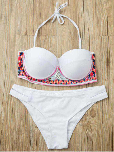 Ethnic-Muster-trägerloses Bikini Set - Weiß S Mobile