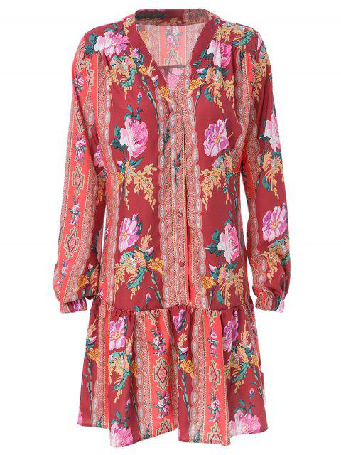 fancy Ethnic Print V Neck Long Sleeve Dress - ORANGE RED M Mobile