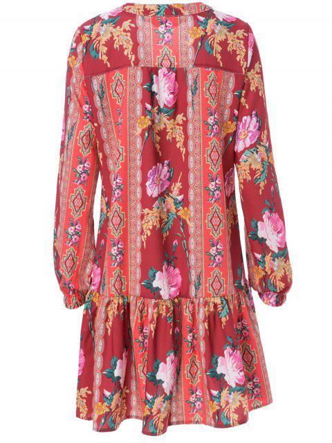 unique Ethnic Print V Neck Long Sleeve Dress - ORANGE RED S Mobile