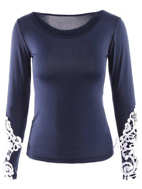 Splicing Scoop Neck Lace ajouré T-shirt - Bleu profond M Mobile