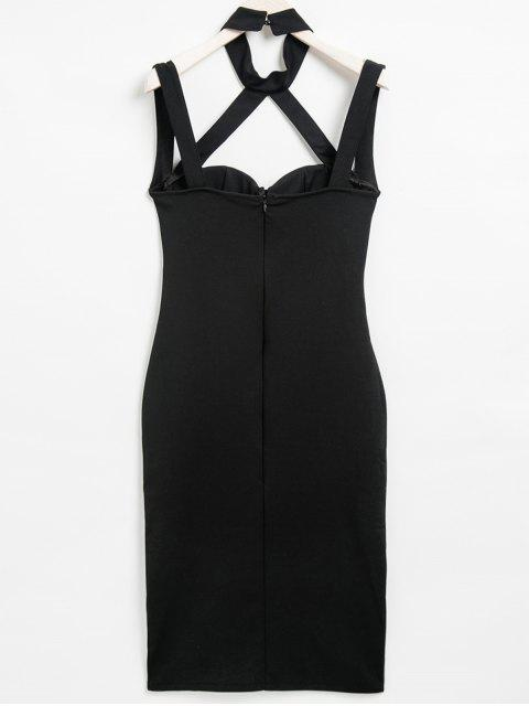 affordable Choker Neck Strappy Bodycon Dress - BLACK S Mobile