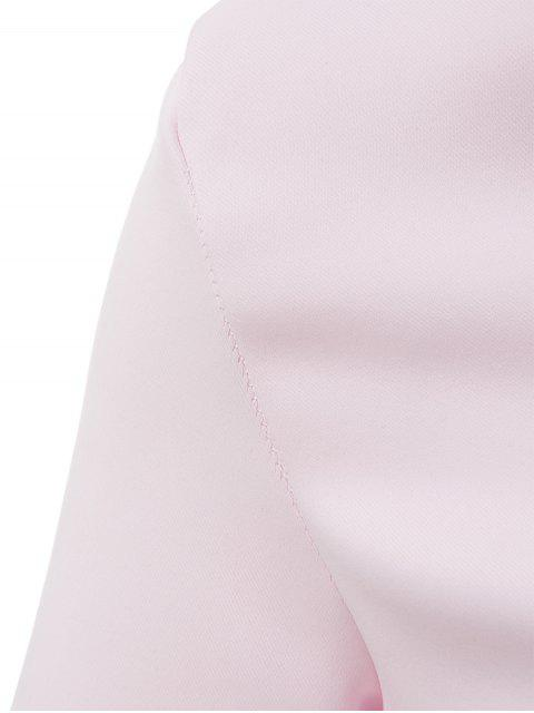 unique Vestido Backless Lace Up V-Neck Solid Color Dress - SHALLOW PINK M Mobile